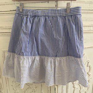Loft Blue & White Striped Ruffle Skirt